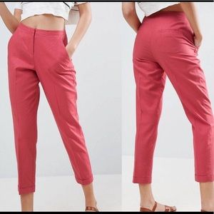 Asos linen pink rose cropped trousers sz 8